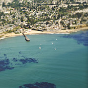 Santa Cruz Pier Prints - Coastal Community and Sailboats Print by Eddy Joaquim