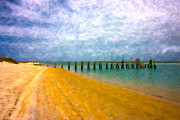 Lazy Digital Art Prints - Coastal Dreamland Print by Betsy A Cutler East Coast Barrier Islands