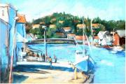Norway Paintings - Coastal Fishing Village by Joan  Jones