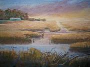 Reeds Painting Originals - Coastal Quiet by Shirley Braithwaite Hunt