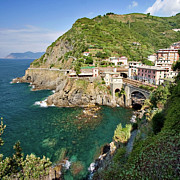 Cinque Terre Framed Prints - Coastal Railway Tunnel In Italian Village Framed Print by Wx Photography