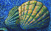 Sea Shell Painting Prints - Coastal Scallop Art Impressionism Original Painting ALASKAN SEASHELLS by MADART Print by Megan Duncanson