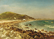 Beach Paintings - Coastal Scene by Albert Bierstadt
