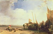 Fishing Boats Paintings - Coastal Scene in Picardy by Richard Parkes Bonington