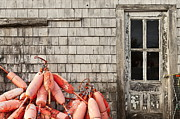 Shanty Prints - Coastal shanty and buoys. Print by John Greim