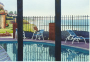 Coast Painting Posters - Coastal Swimming Pool Poster by Mary Helmreich