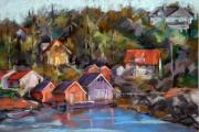 Norway Painting Framed Prints - Coastal Village Framed Print by Joan  Jones