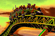 Summer Digital Art Metal Prints - Coaster fun in the Florida sun Metal Print by David Lee Thompson