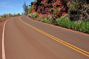 Double Yellow Line Prints - Coastline road in Hawaii Print by Sami Sarkis