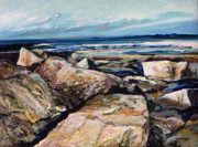 New England. Pastels Prints - Coasts Edge Print by Richard Knox