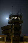 Air Traffic Control Prints - Cob Speicher Control Tower Under A Full Print by Terry Moore