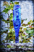 Old Wooden Fence Posts Prints - Cobalt Blue Bottle Triptych 1 of 3 Print by Andee Photography