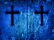 Paris Cemetery Prints - Cobalt Blue Cross Duo Print by Tony Grider
