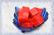 Fresh Food Mixed Media Prints - Cobalt Blue Watermelon Boat Print by Andee Photography