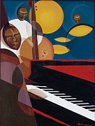 Jazz Pianist Posters - Cobalt Jazz Poster by Kaaria Mucherera