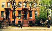 Landscapes Posters - Cobble Hill Brownstones - Brooklyn - New York City Poster by Vivienne Gucwa