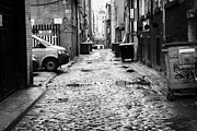 Cobblestones Prints - Cobblestoned Narrow Bath Lane In Glasgow Scotland Uk Print by Joe Fox