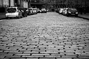 Glasgow City Centre Scotland Prints - Cobblestoned Street In Central Glasgow Scotland Uk Print by Joe Fox