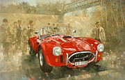 Red Car Art - Cobra at Brooklands by Peter Miller