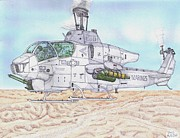 Helicopter Drawings Posters - Cobra Attack Helicopter Poster by Calvert Koerber