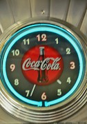 Diner Photos Posters - Coca Cola Clock Poster by Kathleen Struckle