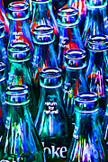 Wing Tong Digital Art Metal Prints - Coca-Cola Coke Bottles - Return For Refund - Painterly - Blue Metal Print by Wingsdomain Art and Photography