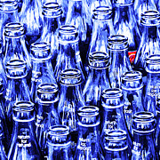 Wingsdomain Digital Art - Coca-Cola Coke Bottles - Return For Refund - Square - Painterly - Blue by Wingsdomain Art and Photography