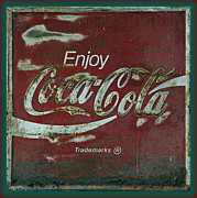 Antique Coca Cola Sign Prints - Coca Cola Green Red Grunge Sign Print by John Stephens