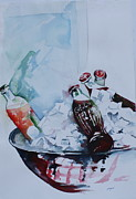 Bottle Caps Painting Posters - Coca Cola on Ice Poster by Peg Ott Mcguckin