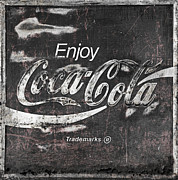 Closeup Coke Sign Prints - Coca Cola Pink Grunge Sign Print by John Stephens