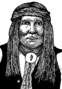 Indian Ink Drawings Prints - Cochise Print by Karl Addison