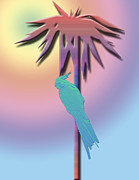 Lavenders Digital Art - Cockatiel on Palm Tree by Karen Nicholson