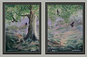 Kangaroos Paintings - Cockatoos and Kangaroos by Rex WOODMORE