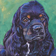 Black And Tan Prints - Cocker Spaniel head study Print by Lee Ann Shepard