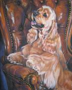 Spaniel Puppy Paintings - Cocker Spaniel on chair by L A Shepard