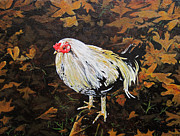 Yellow Leaves Painting Posters - Cockerel Poster by Carrie Jackson