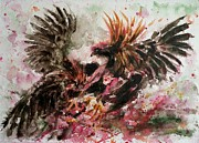 Most Popular Paintings - Cockfight by Zaira Dzhaubaeva