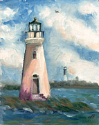 National Parks Paintings - Cockspur Lighthouse at Fort Pulaski by Doris Blessington