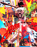 Red Sox Mixed Media Prints - Coco Print by Kevin Newton