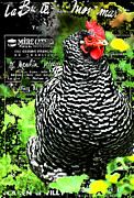 Black And White Paris Mixed Media Posters - Coco the Chicken in Montmartre Poster by adSpice Studios