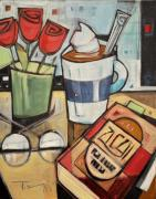 Bistro Paintings - Cocoa and a Good Book by Tim Nyberg