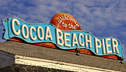 Vintage Sign Posters - Cocoa Beach Pier Sign Poster by David Lee Thompson