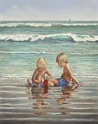 Cocoa Beach Sandcastles Print by AnnaJo Vahle