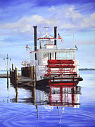 Waterscape Painting Prints - Cocoa Belle at dock Print by AnnaJo Vahle