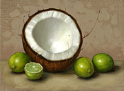 Tropical Fruit Prints - Coconut and Key Limes Print by Clinton Hobart