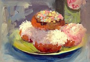 Donuts Painting Originals - Coconut And Sprinkles by Deborah Cushman