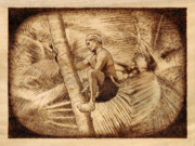 Drawing Pyrography Prints - Coconut Plucking Print by Conrad  Pinto