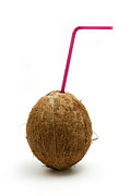 White Background Posters - Coconut with a straw Poster by Fabrizio Troiani