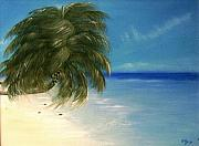Caribbean Sea Paintings - Coconuts and Palm Trees by Ofelia Uz