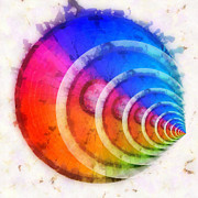Round Shell Digital Art Posters - Code Of Colors 8 Poster by Angelina Vick